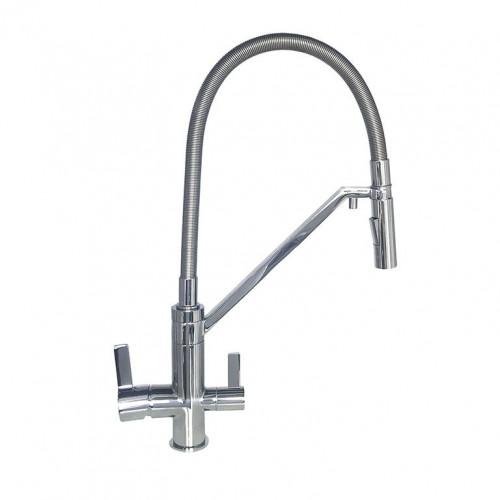 Смеситель для кухни под осмос TOPAZ SARDINIA TS 8812-H24 гибкий излив, лейка-душ, Хром