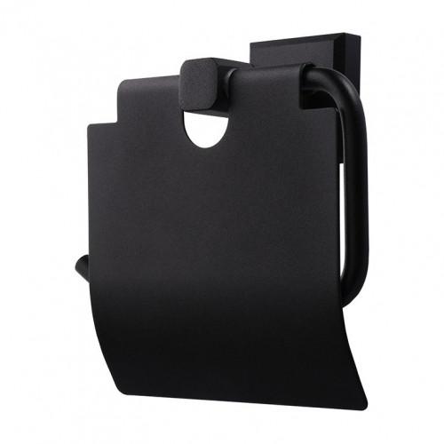 Держатель для туалетной бумаги с крышкой TOPAZ TКВ 9926-BL Черный матовый, Латунь