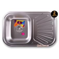 Мойка для кухни врезная прямоугольная с полкой 750х490х180 Decor MR 7549 D Mira