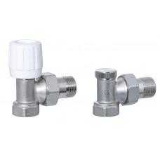 Набор кранов для радиатора с накидной гайкой 1/2 угловой ECO6001b + ECO6002b усиленный