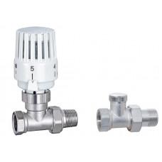 """Набор кранов для радиатора с термоголовкой 1/2"""" прямой ECO6003H + ECO6004b усиленный"""