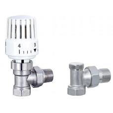 """Набор кранов для радиатора с термоголовкой 1/2"""" угловой ECO6001H + ECO6002b усиленный"""