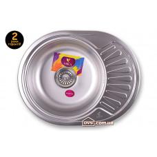Мойка для кухни врезная круглая с полкой 570х450х180 Decor MR 5745  D Mira
