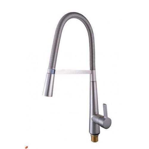 Смеситель для кухни Globus Lux LAZER GLLR-1032 StSTEEL на пружине с душевой лейкой