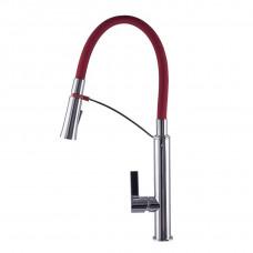 Смеситель для кухни TOPAZ SARDINIA 8817-H23-R-S Красный с гибким изливом, лейка-душ