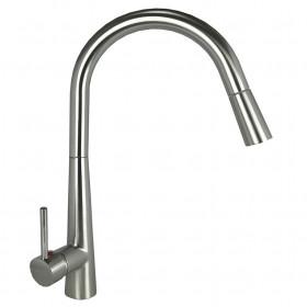Смеситель для кухни Globus Lux LAZER GLLR-1033 St Steel с выдвижным изливом