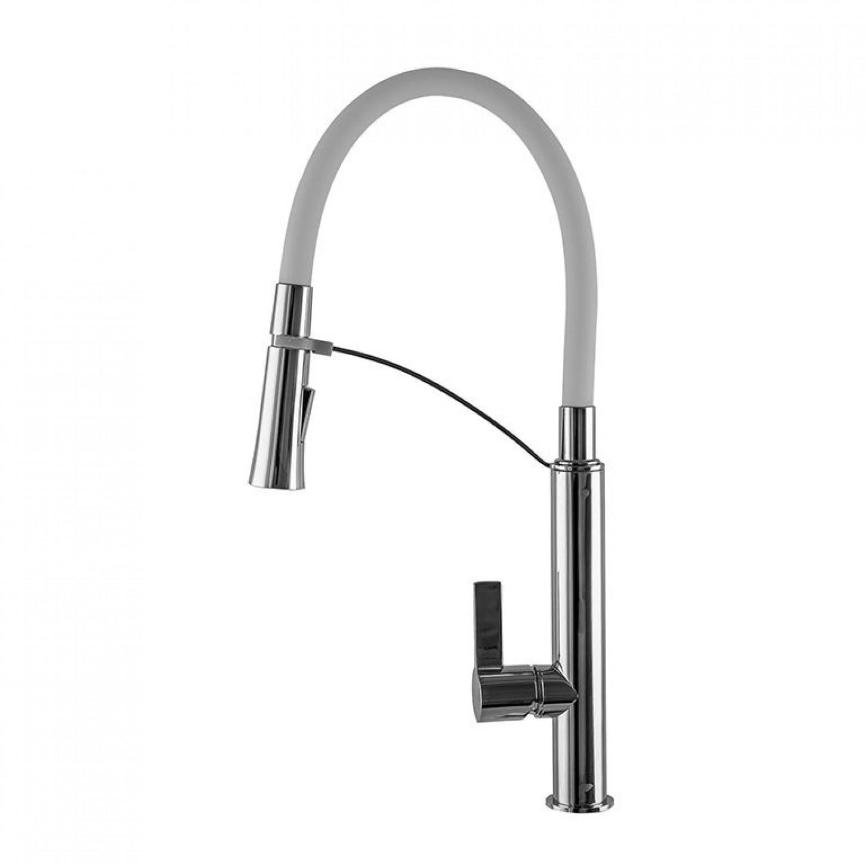 Смеситель для кухни TOPAZ SARDINIA 8817-H23-W-S Белый с гибким изливом, лейка-душ