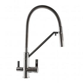 Смеситель для кухни под осмос TOPAZ ZARA TZ 8812-H24-S гибкий излив, лейка-душ, Хром