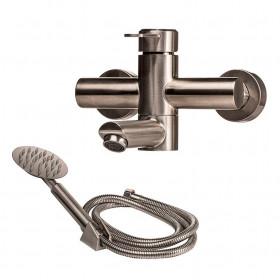 Смеситель для ванны Globus Lux WIEN SBT2-102N поворотный излив, Нержавейка, Комплект с душем