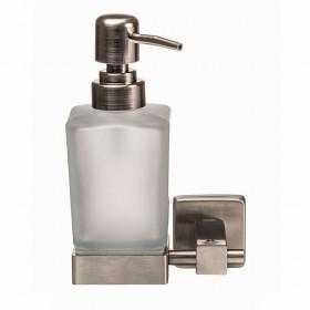 Дозатор жидкого мыла Квадро подвесной Стекло Мат. Нержавейка Globus Lux SQ9433