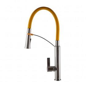 Смеситель для кухни TOPAZ SARDINIA 8817-H23-Y-S Желтый с гибким изливом, лейка-душ