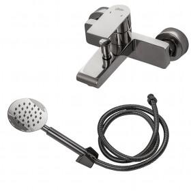 Смеситель для ванны Globus Lux SHS-102-M Нержавейка, зеркало, Комплект с душем