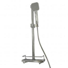 Душевая стойка Dishi L116-TP-KIT хромированная с полкой, шланг, лейка, КУБ, L-650мм