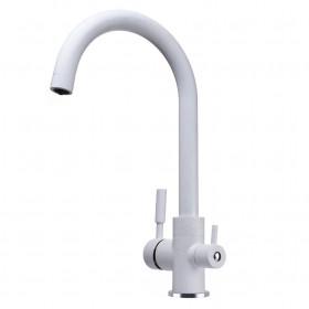 Смеситель для кухни под осмос Globus Lux GLLR-0333-7-WHITE на гайке, латунь, Белый