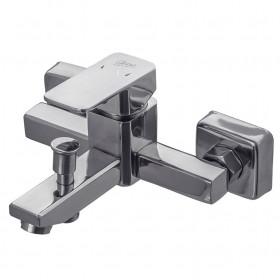 Смеситель для ванны Globus Lux SHK-102-M Квадро, Нержавейка, зеркало, Комплект с душем