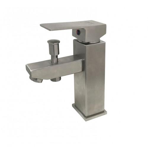Смеситель для умывальника Globus Lux SHK-106P с выводом на душ, Нержавейка (без душ. комплекта), на гайке