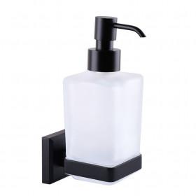 Дозатор жидкого мыла навесной стекло Черный Мат. ЛАТУНЬ TOPAZ TKB 9933A-BL