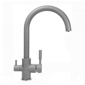 Смеситель для кухни под осмос Globus Lux GLLR-0333-2-ARENA на гайке, латунь, Серый