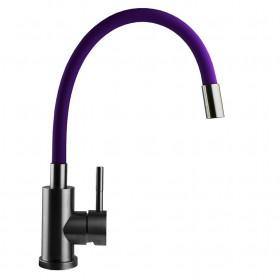Смеситель для кухни Globus Lux MixMIRA MS1-203SM фиолетовый с гибким изливом