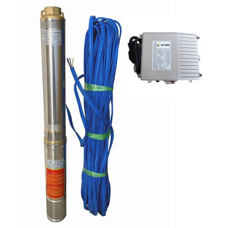 Скважинный насос OPTIMA 4SDm3/9 0.55кВт 65м + пульт + кабель 30м