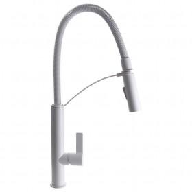 Смеситель для кухни TOPAZ SARDINIA TS 8818-W Белый с гибким изливом, лейка-душ