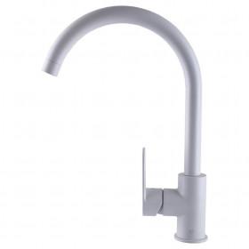 Смеситель для кухни TOPAZ CORSICA TC 8809-H48-W-S- cartridge D35 + шланги 45см, Белый Матовый