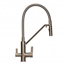 Смеситель для кухни под осмос TOPAZ SARDINIA TS 8812-H24-PVD-S гибкий излив, лейка-душ, Никель
