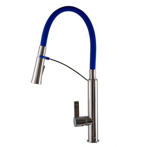Смеситель для кухни TOPAZ SARDINIA 8817-H23-B-S Синий с гибким изливом, лейка-душ